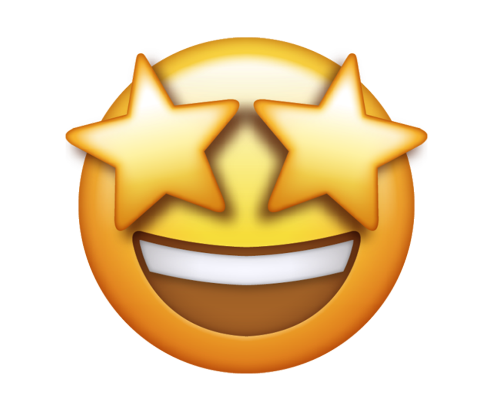 emoji smiley with stars in eyes