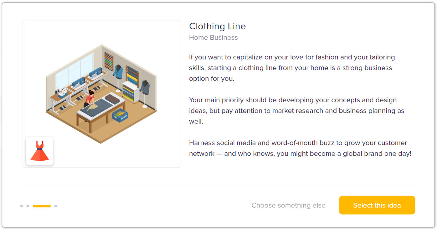 clothing line - select a business idea